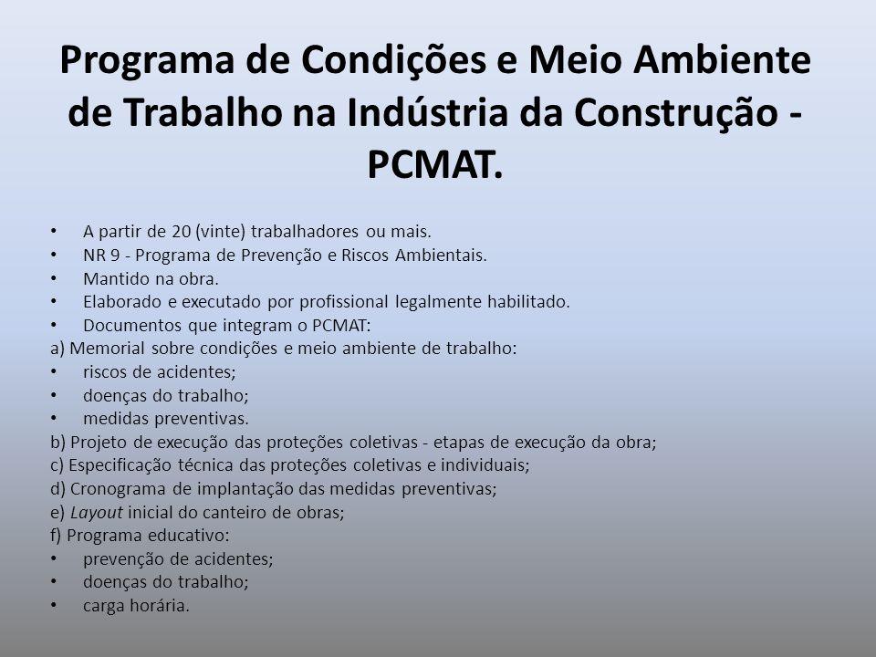 Programa de Condições e Meio Ambiente de Trabalho na Indústria da Construção - PCMAT.