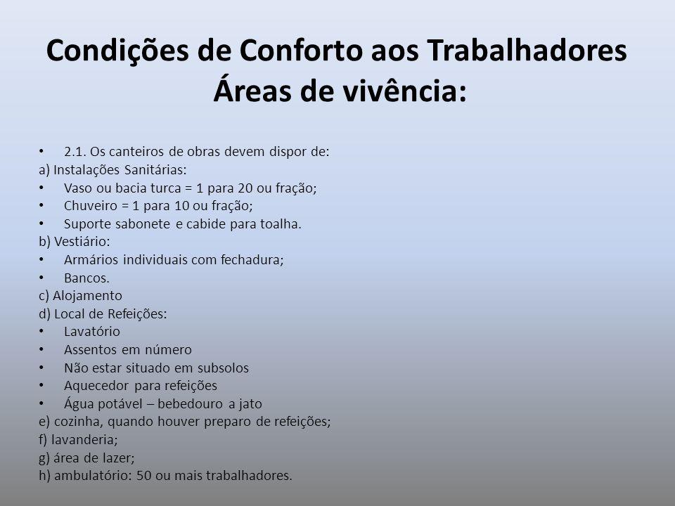 Condições de Conforto aos Trabalhadores Áreas de vivência: