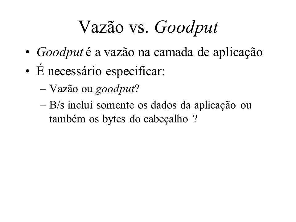 Vazão vs. Goodput Goodput é a vazão na camada de aplicação