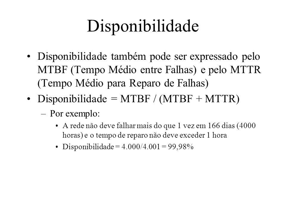 Disponibilidade Disponibilidade também pode ser expressado pelo MTBF (Tempo Médio entre Falhas) e pelo MTTR (Tempo Médio para Reparo de Falhas)