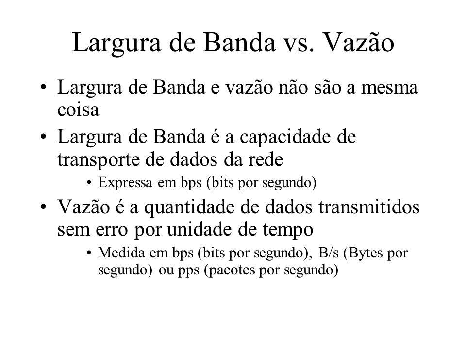 Largura de Banda vs. Vazão