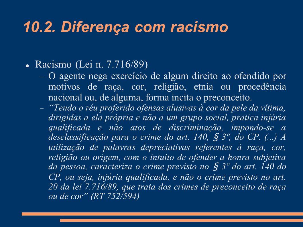 10.2. Diferença com racismo Racismo (Lei n. 7.716/89)