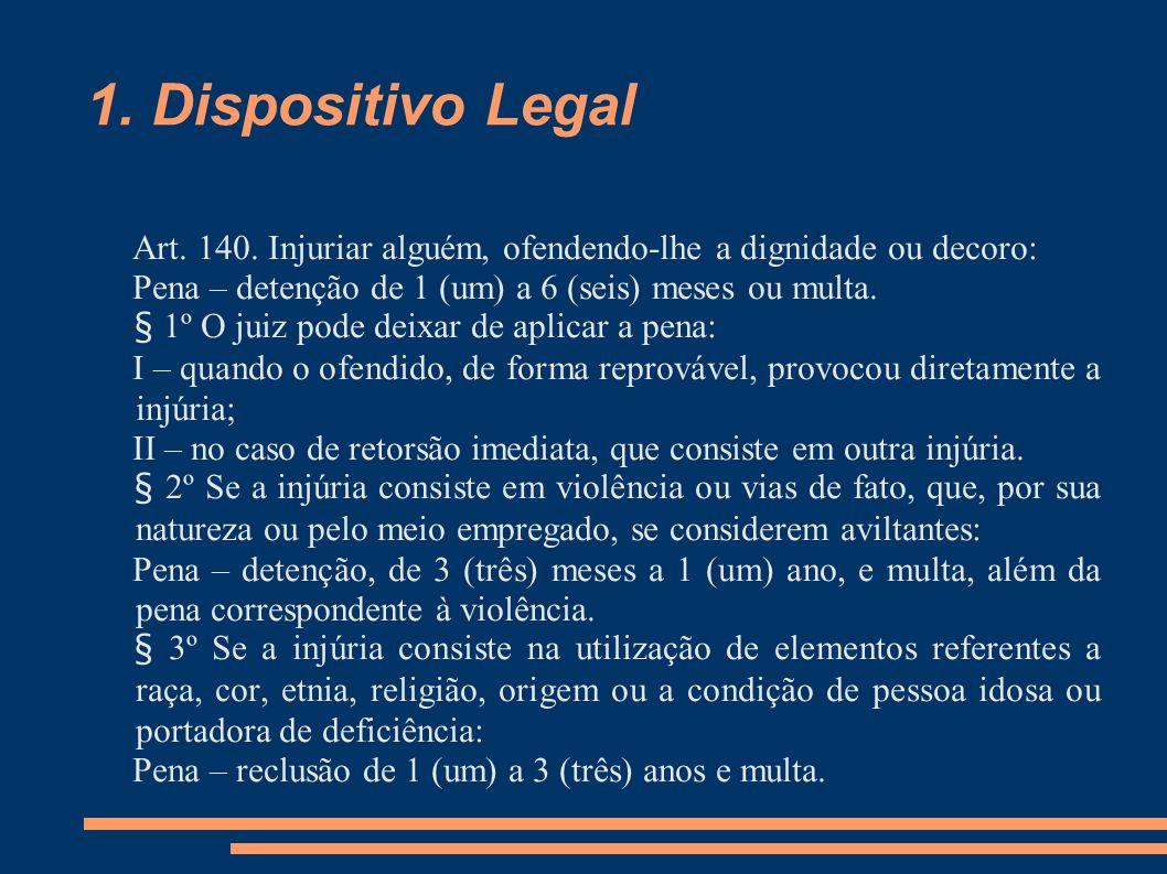 1. Dispositivo Legal Art. 140. Injuriar alguém, ofendendo-lhe a dignidade ou decoro: Pena – detenção de 1 (um) a 6 (seis) meses ou multa.