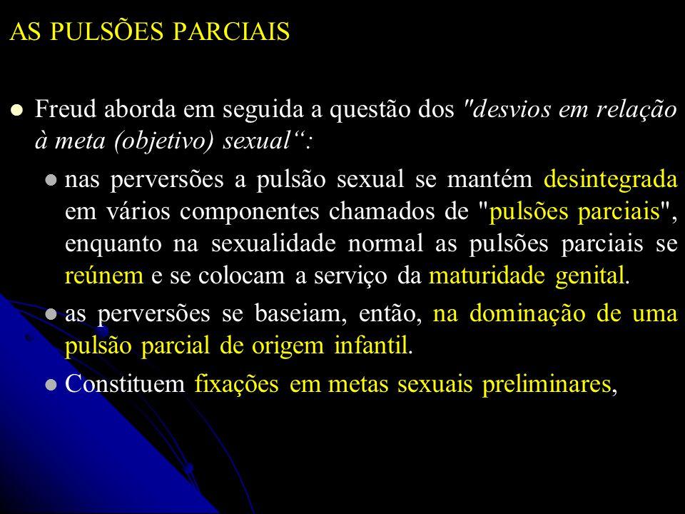 AS PULSÕES PARCIAIS Freud aborda em seguida a questão dos desvios em relação à meta (objetivo) sexual :