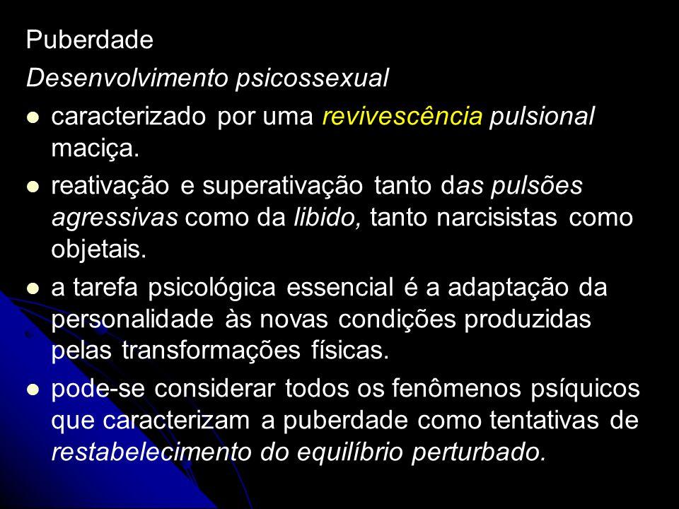 Puberdade Desenvolvimento psicossexual. caracterizado por uma revivescência pulsional maciça.