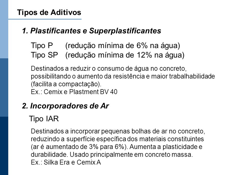 1. Plastificantes e Superplastificantes