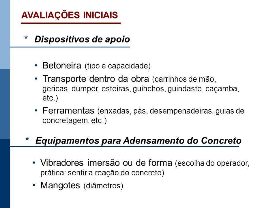AVALIAÇÕES INICIAIS* Dispositivos de apoio. • Betoneira (tipo e capacidade)