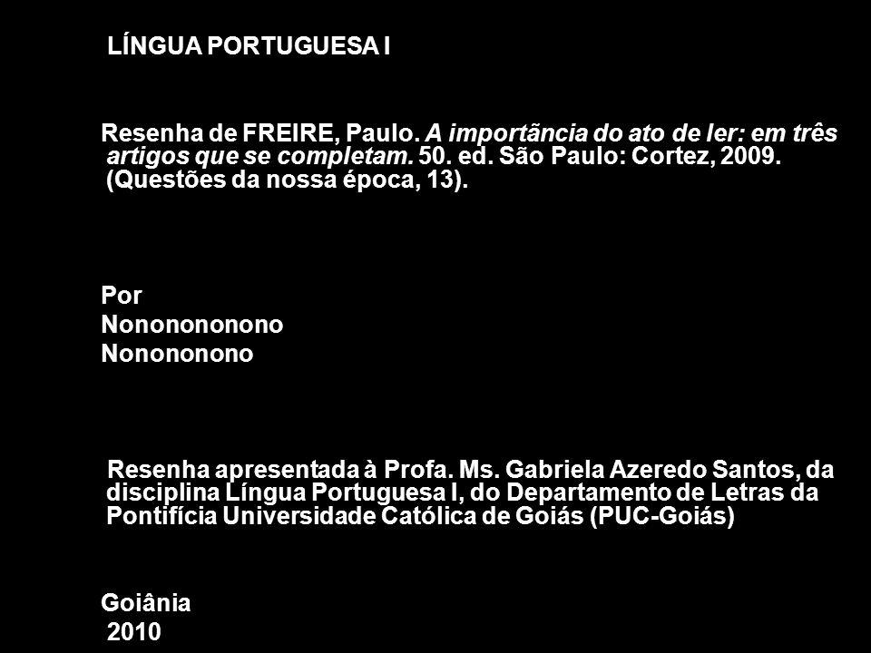 LÍNGUA PORTUGUESA I