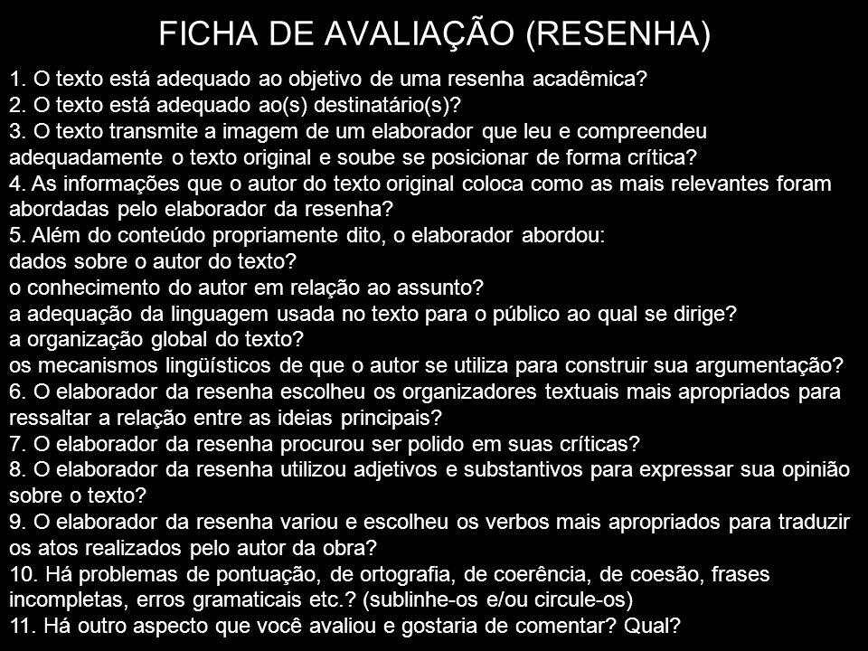 FICHA DE AVALIAÇÃO (RESENHA)