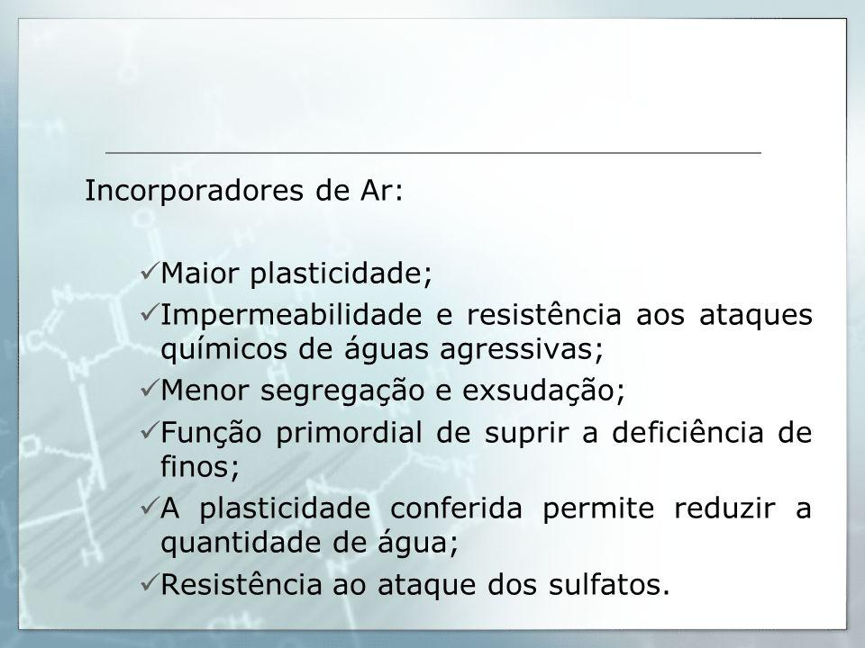 Incorporadores de Ar: Maior plasticidade; Impermeabilidade e resistência aos ataques químicos de águas agressivas;