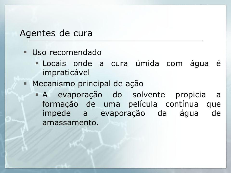 Agentes de cura Uso recomendado
