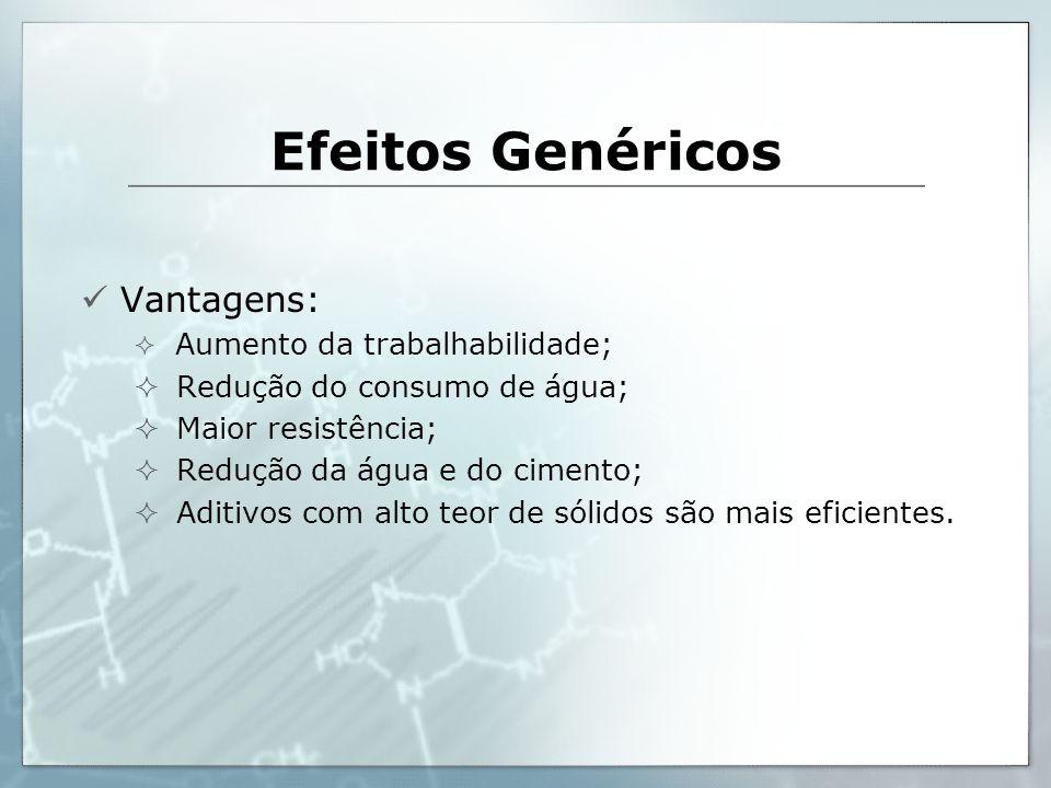 Efeitos Genéricos Vantagens: Redução do consumo de água;