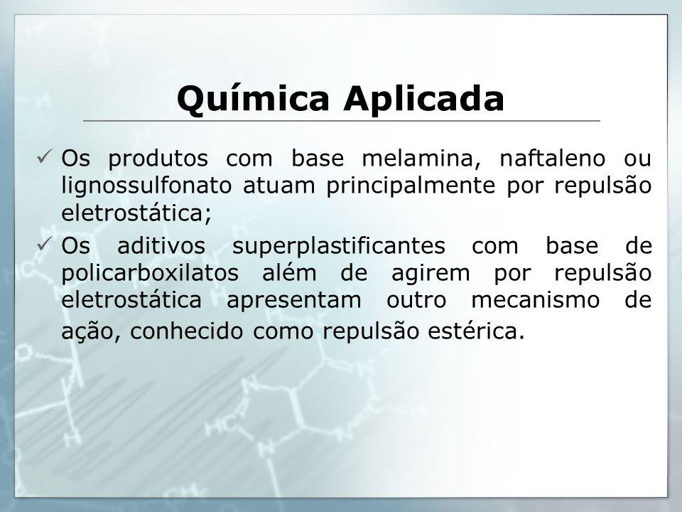 Química Aplicada Os produtos com base melamina, naftaleno ou lignossulfonato atuam principalmente por repulsão eletrostática;