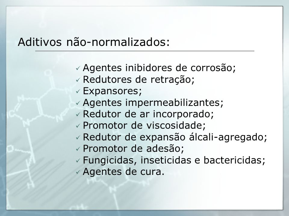 Aditivos não-normalizados: