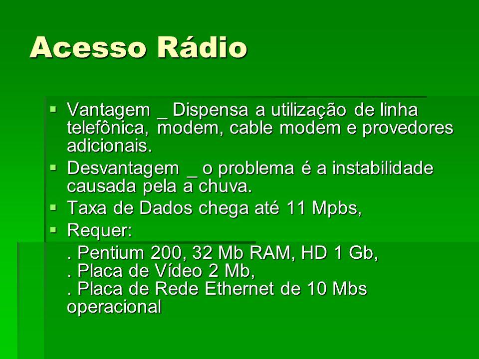 Acesso Rádio Vantagem _ Dispensa a utilização de linha telefônica, modem, cable modem e provedores adicionais.