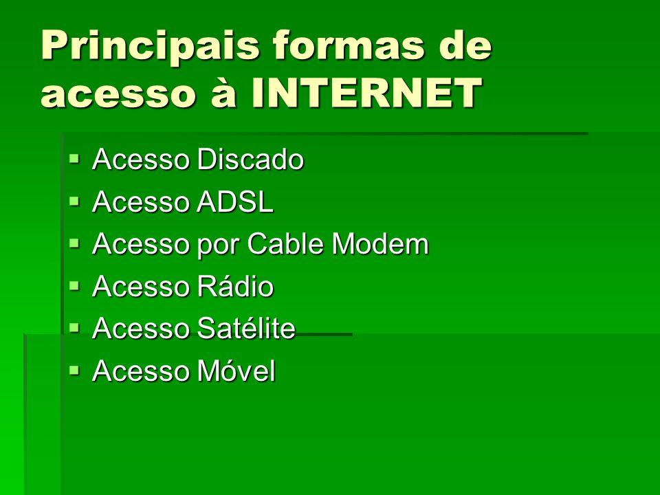 Principais formas de acesso à INTERNET