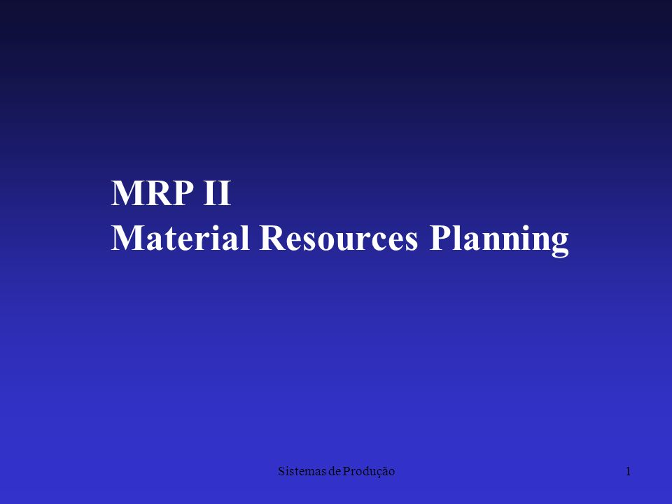 Material Resources Planning