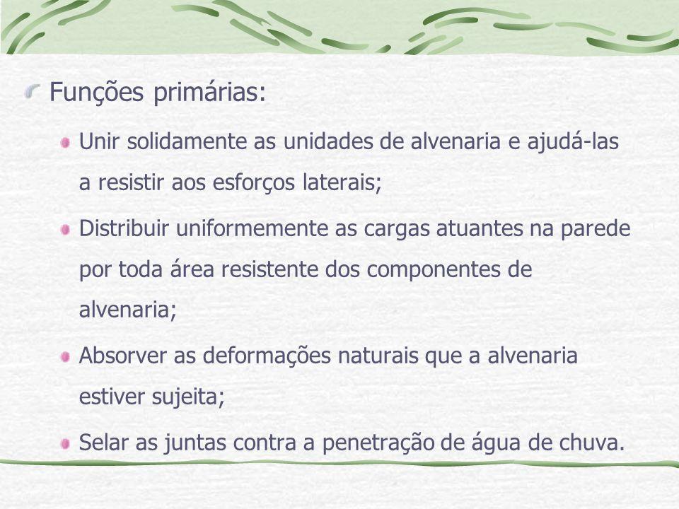 Funções primárias: Unir solidamente as unidades de alvenaria e ajudá-las a resistir aos esforços laterais;