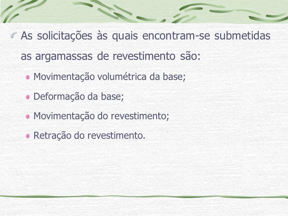 As solicitações às quais encontram-se submetidas as argamassas de revestimento são: