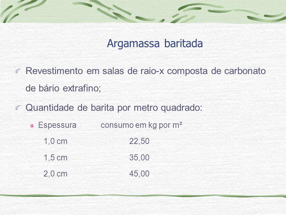 Argamassa baritada Revestimento em salas de raio-x composta de carbonato de bário extrafino; Quantidade de barita por metro quadrado: