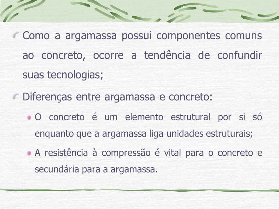 Diferenças entre argamassa e concreto: