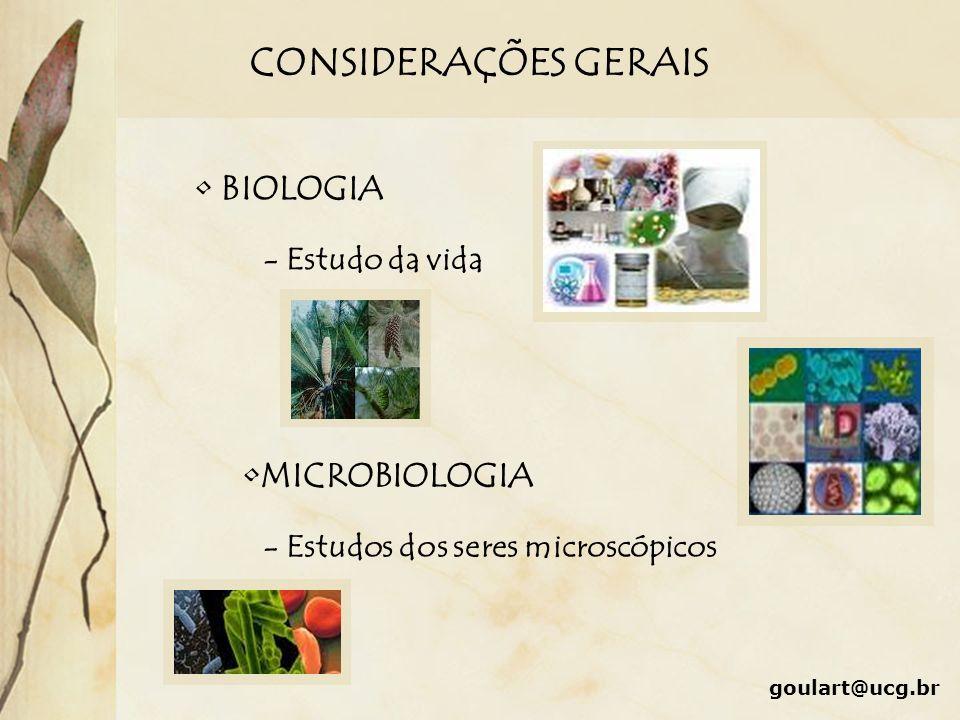 CONSIDERAÇÕES GERAIS BIOLOGIA MICROBIOLOGIA - Estudo da vida