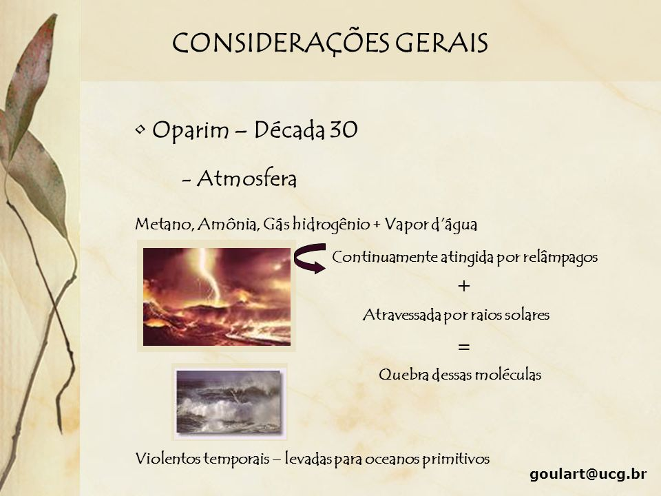 CONSIDERAÇÕES GERAIS Oparim – Década 30 - Atmosfera + =