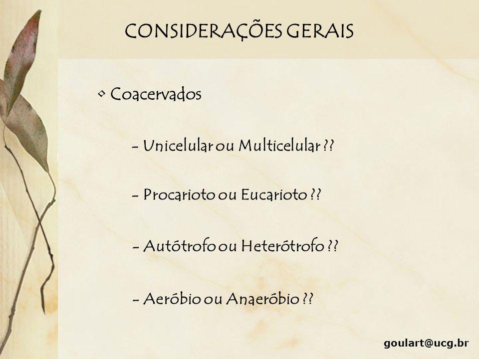 CONSIDERAÇÕES GERAIS Coacervados - Unicelular ou Multicelular