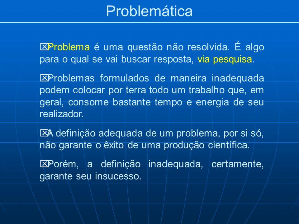 Problemática Problema é uma questão não resolvida. É algo para o qual se vai buscar resposta, via pesquisa.