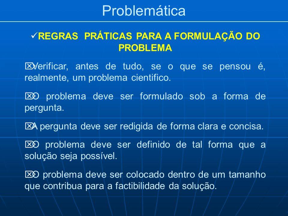 REGRAS PRÁTICAS PARA A FORMULAÇÃO DO PROBLEMA
