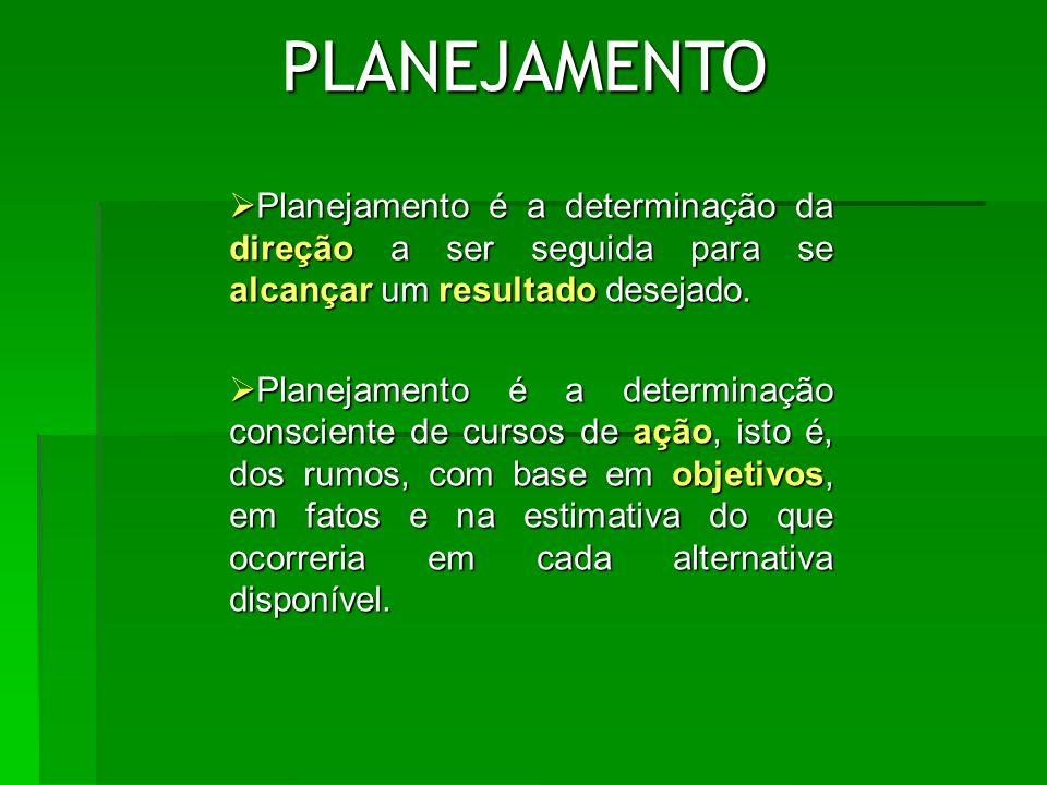 PLANEJAMENTO Planejamento é a determinação da direção a ser seguida para se alcançar um resultado desejado.