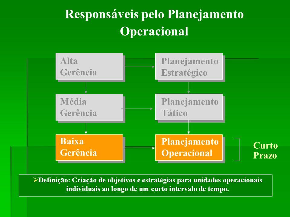 Responsáveis pelo Planejamento Operacional