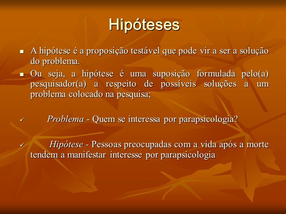 Hipóteses A hipótese é a proposição testável que pode vir a ser a solução do problema.