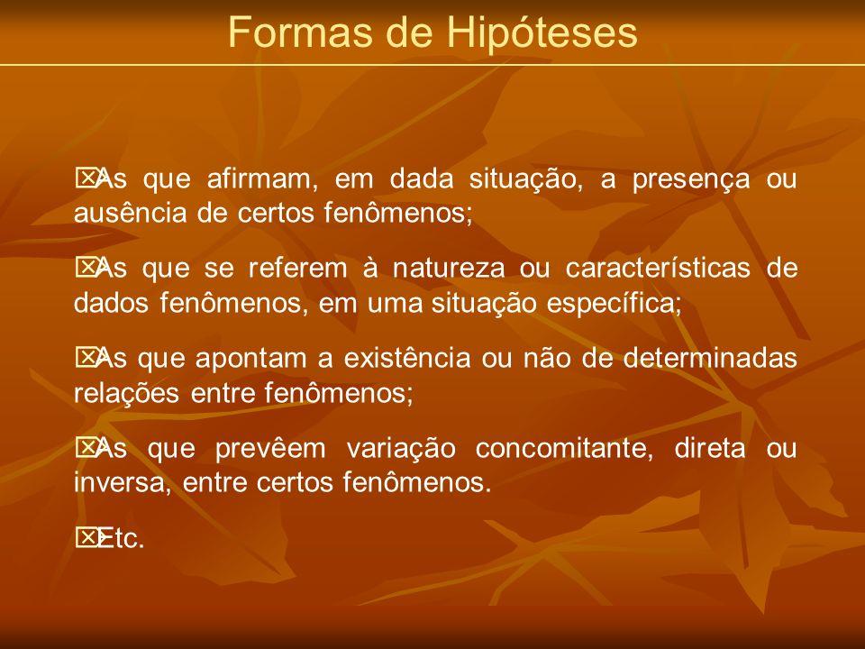 Formas de Hipóteses As que afirmam, em dada situação, a presença ou ausência de certos fenômenos;