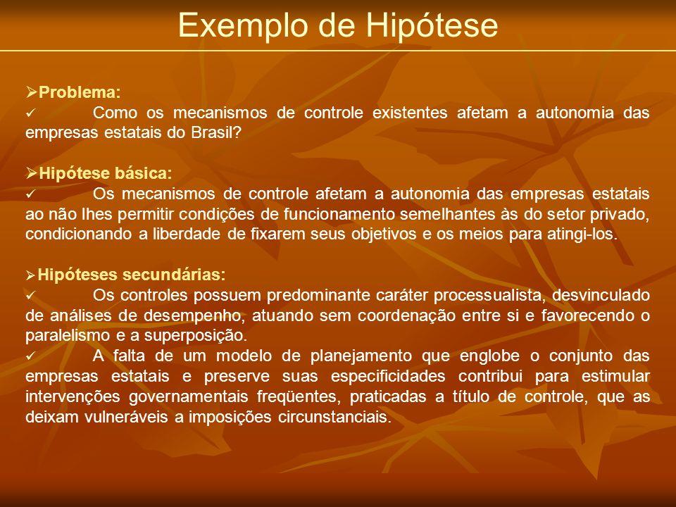 Exemplo de Hipótese Problema: