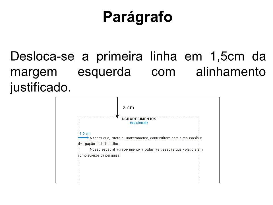 Parágrafo Desloca-se a primeira linha em 1,5cm da margem esquerda com alinhamento justificado.
