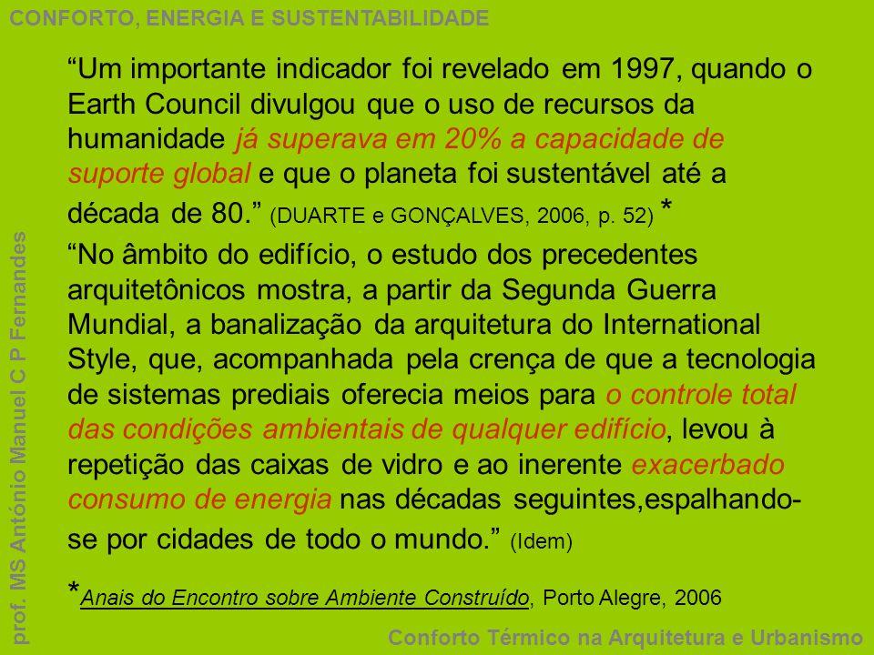 *Anais do Encontro sobre Ambiente Construído, Porto Alegre, 2006