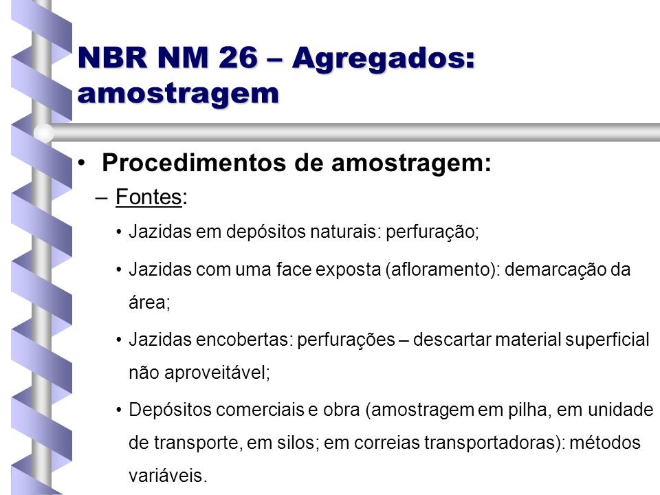 NBR NM 26 – Agregados: amostragem