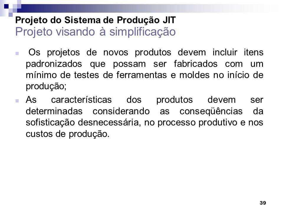 Projeto do Sistema de Produção JIT Projeto visando à simplificação