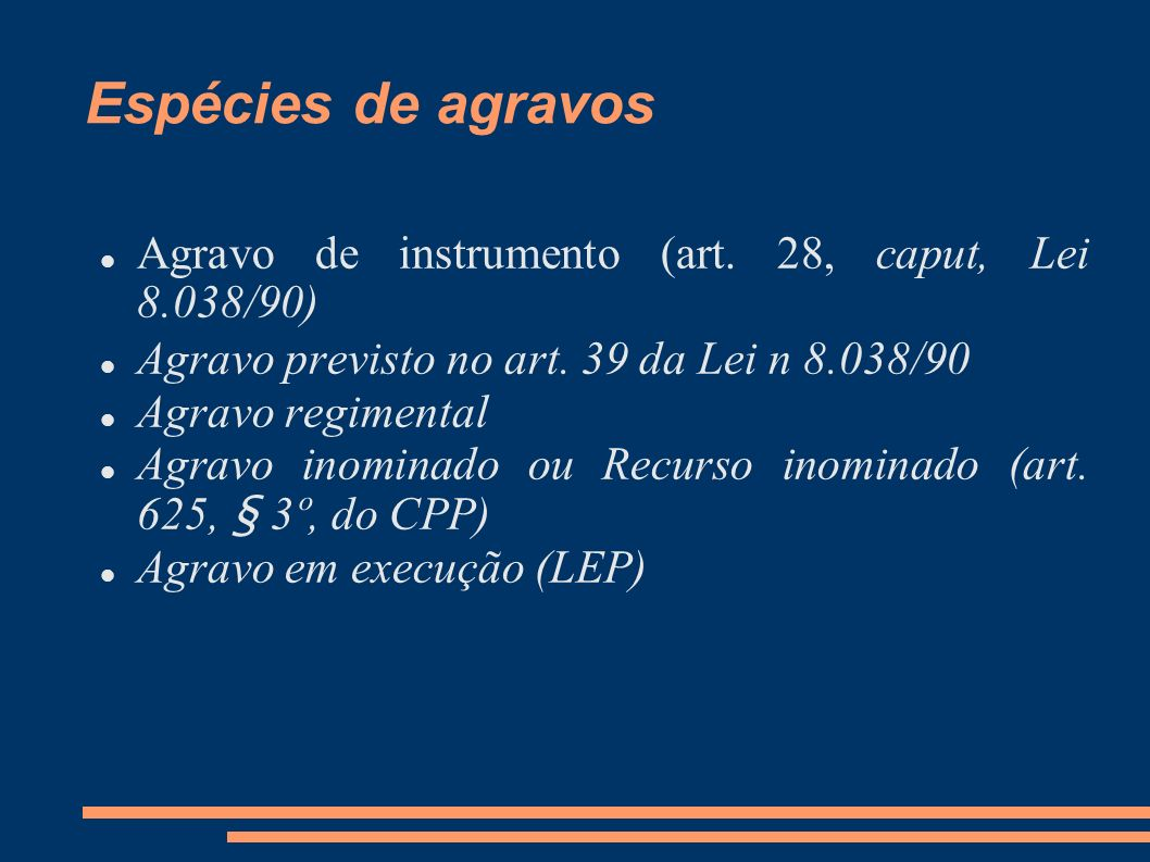 Espécies de agravos Agravo de instrumento (art. 28, caput, Lei 8.038/90) Agravo previsto no art. 39 da Lei n 8.038/90.