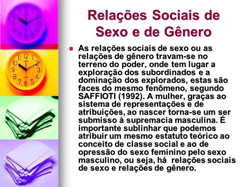 Relações Sociais de Sexo e de Gênero