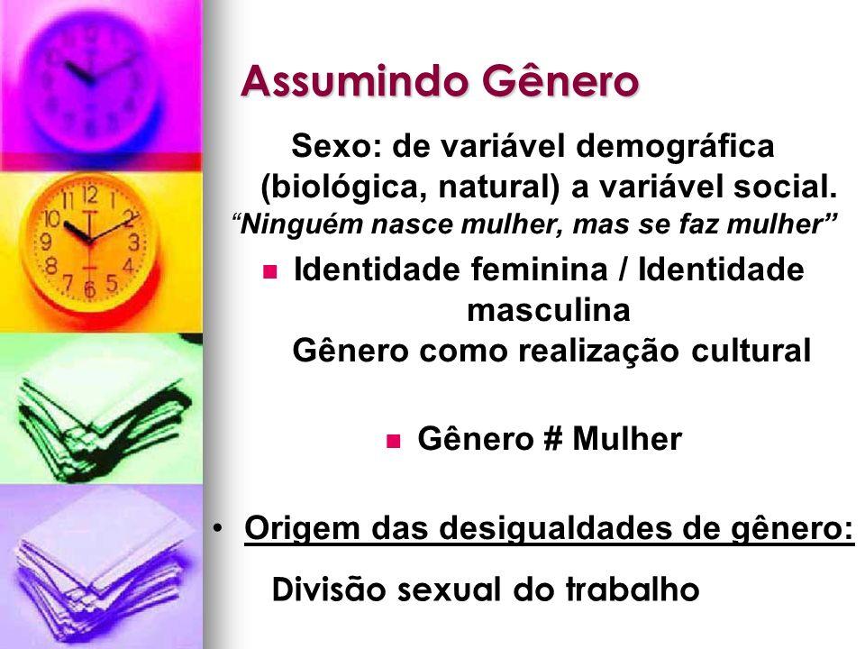 Assumindo Gênero Sexo: de variável demográfica (biológica, natural) a variável social. Ninguém nasce mulher, mas se faz mulher