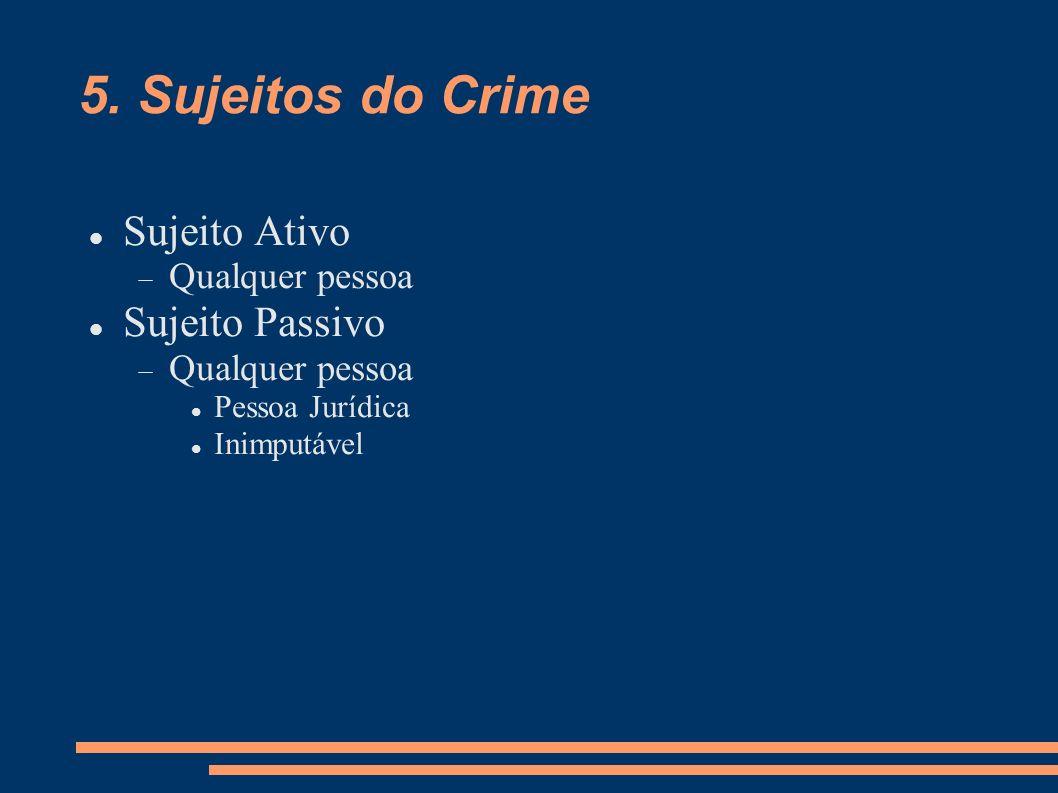 5. Sujeitos do Crime Sujeito Ativo Sujeito Passivo Qualquer pessoa