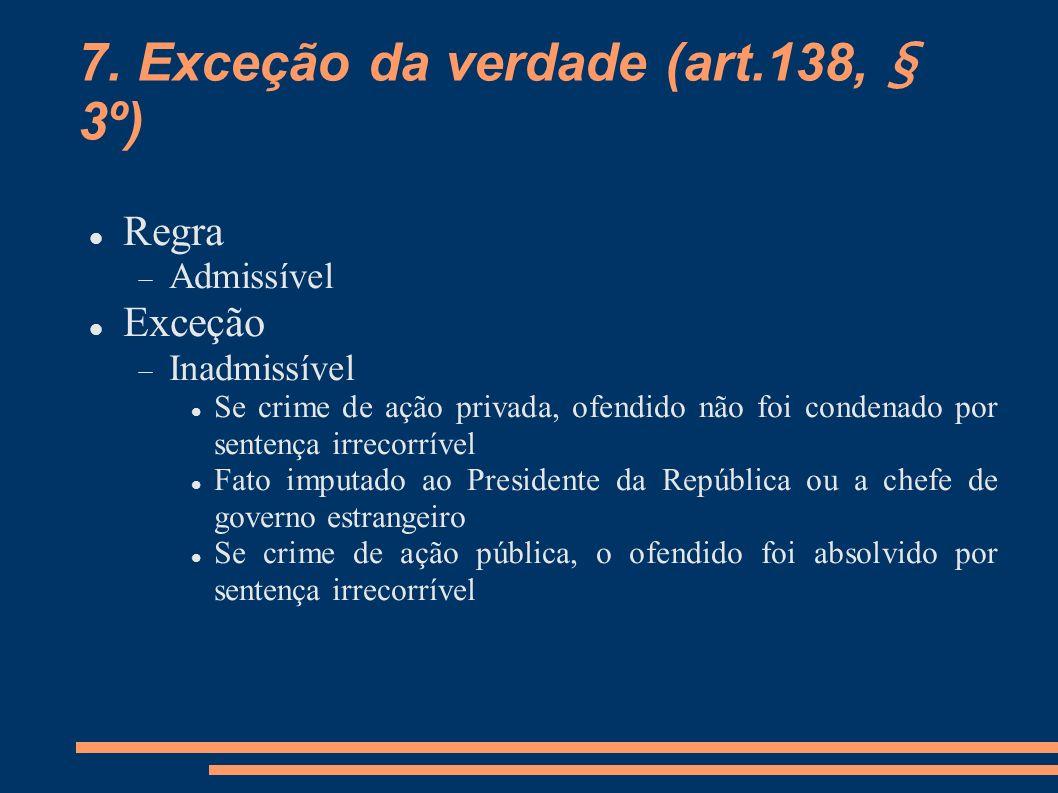 7. Exceção da verdade (art.138, § 3º)
