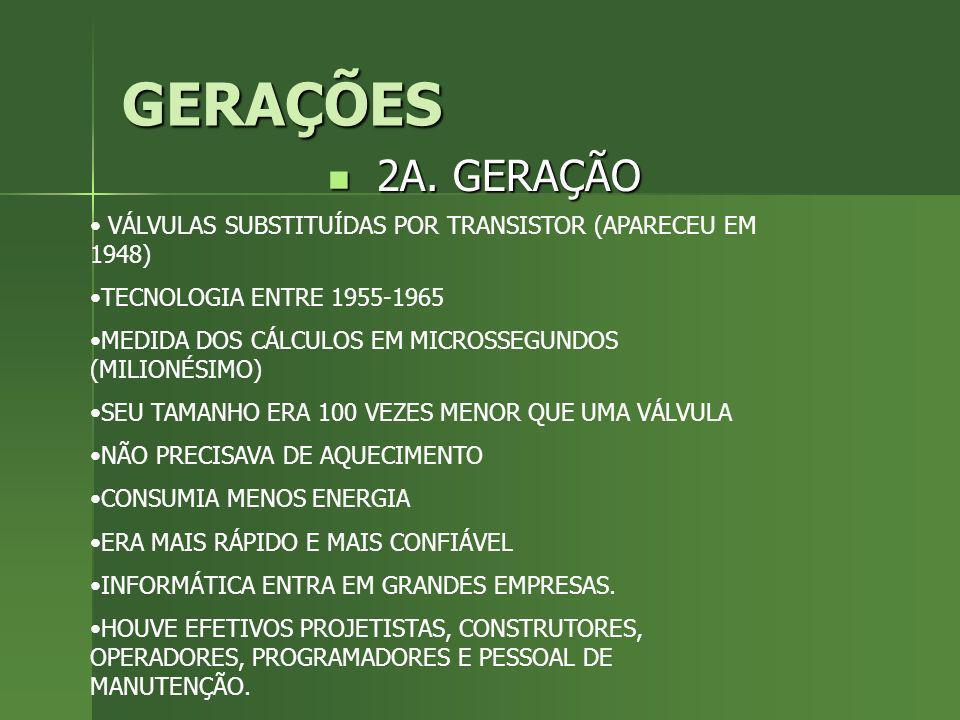 GERAÇÕES 2A. GERAÇÃO. VÁLVULAS SUBSTITUÍDAS POR TRANSISTOR (APARECEU EM 1948) TECNOLOGIA ENTRE 1955-1965.