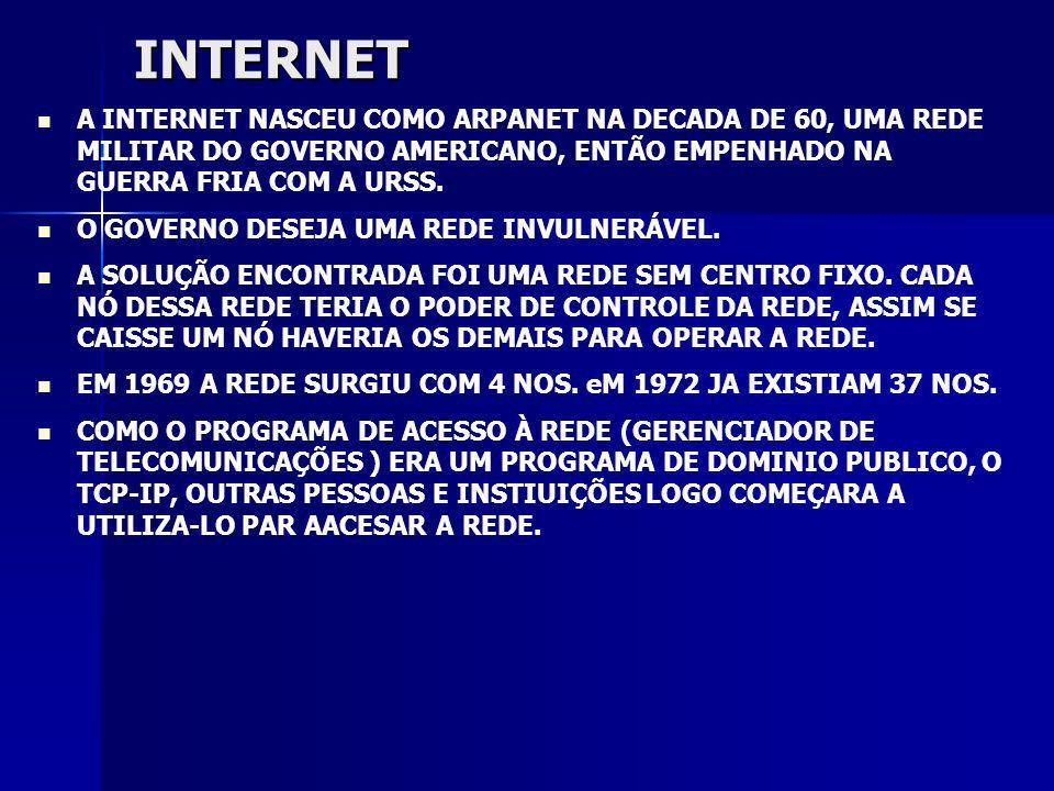 INTERNET A INTERNET NASCEU COMO ARPANET NA DECADA DE 60, UMA REDE MILITAR DO GOVERNO AMERICANO, ENTÃO EMPENHADO NA GUERRA FRIA COM A URSS.