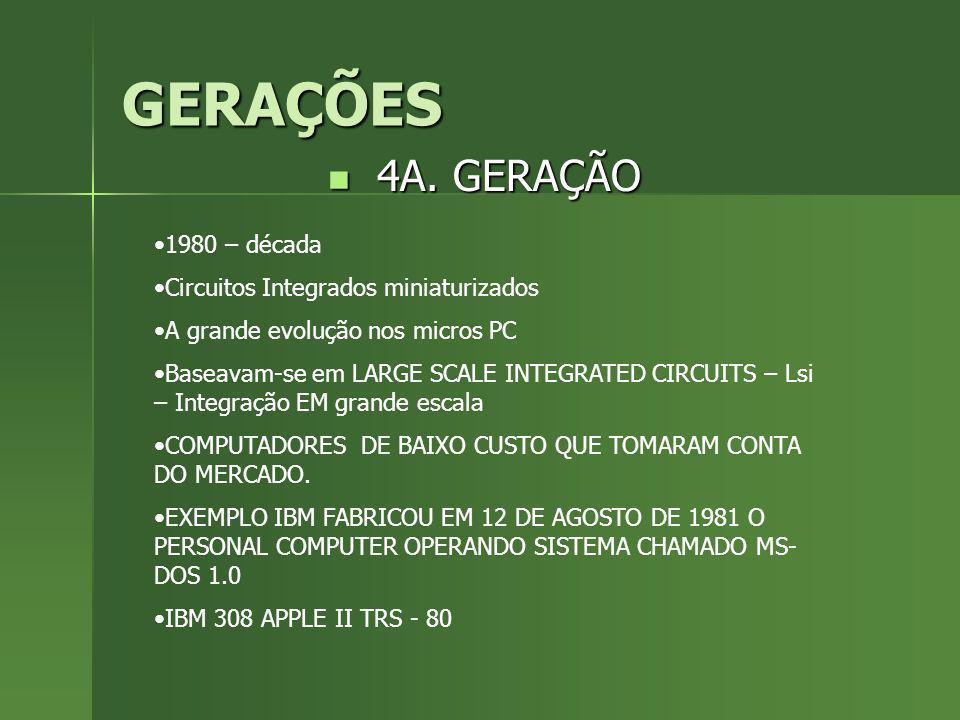 GERAÇÕES 4A. GERAÇÃO 1980 – década Circuitos Integrados miniaturizados
