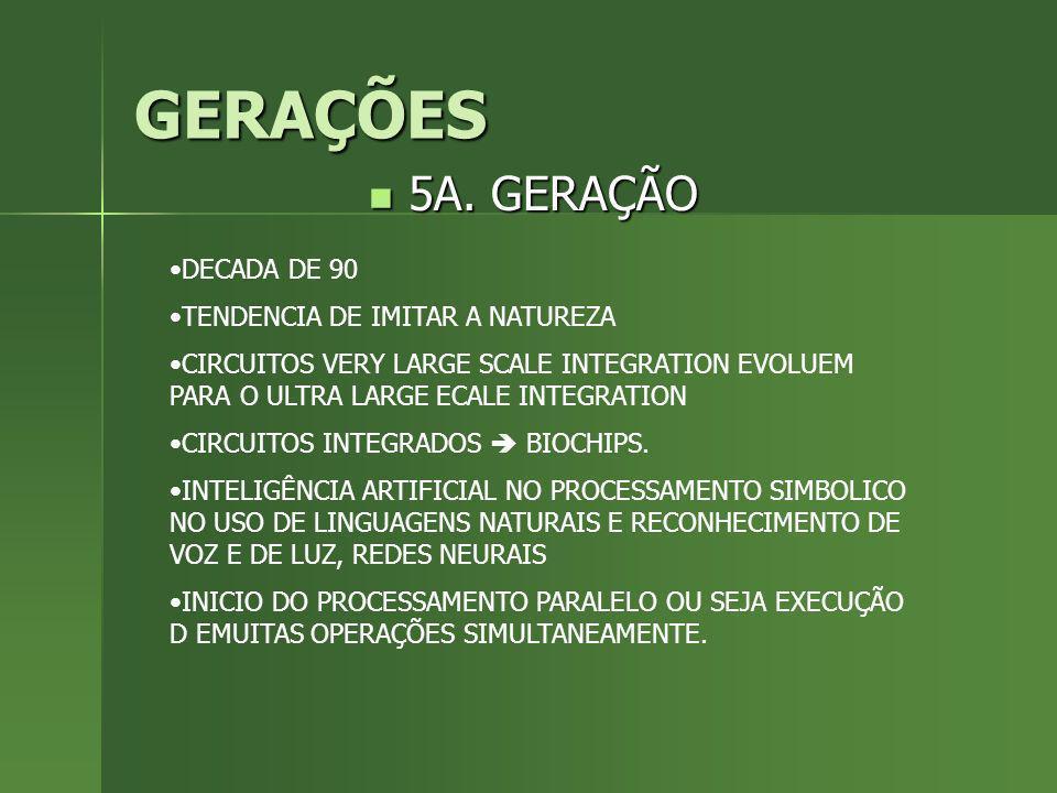 GERAÇÕES 5A. GERAÇÃO DECADA DE 90 TENDENCIA DE IMITAR A NATUREZA