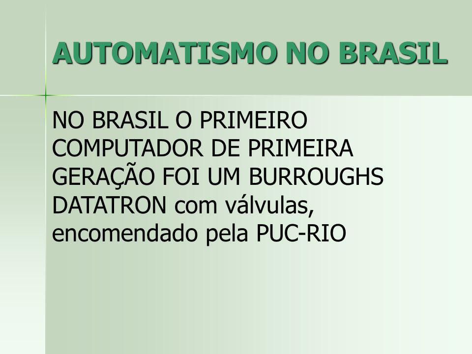 AUTOMATISMO NO BRASIL NO BRASIL O PRIMEIRO COMPUTADOR DE PRIMEIRA GERAÇÃO FOI UM BURROUGHS DATATRON com válvulas, encomendado pela PUC-RIO.