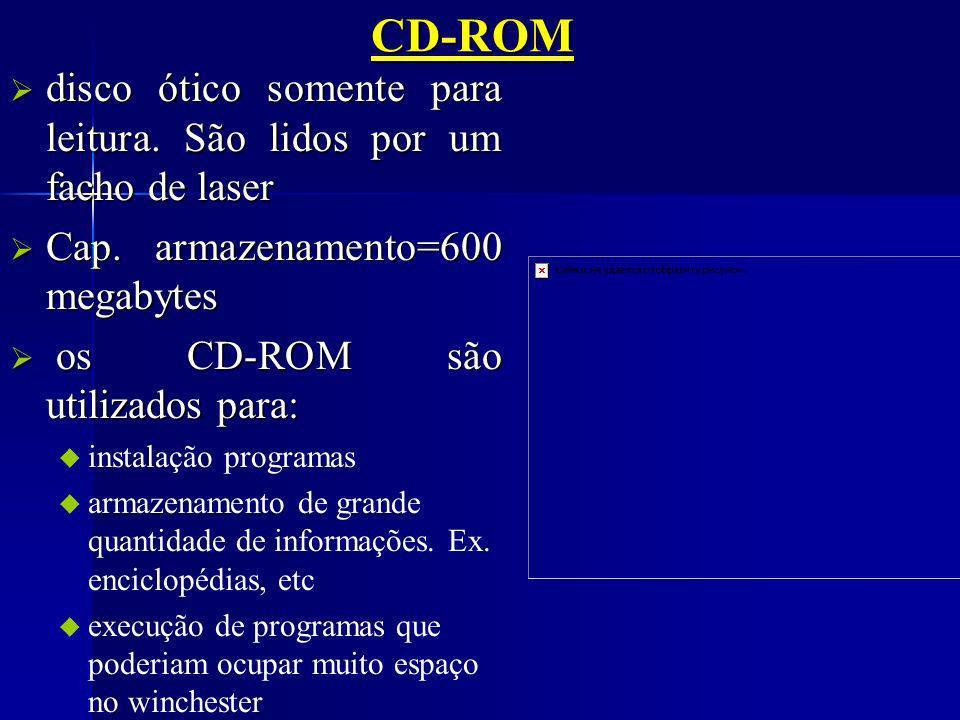 CD-ROM disco ótico somente para leitura. São lidos por um facho de laser. Cap. armazenamento=600 megabytes.